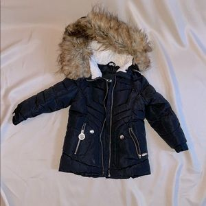 DKNY puffer coat with removable fur trimmed hood